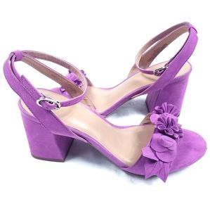 A New Day Rosette Flower Purple Suede Sandals